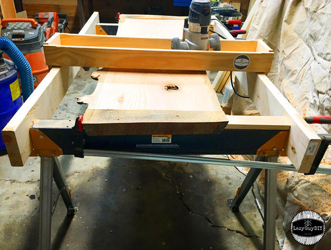 Diy router sled tutorial for the big ol slabs lazy guy diy with the toughbuilt sawhorses even with the sandpaper like grip on the surface edge the router creates enough torque and greentooth Image collections
