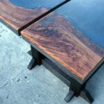 Concrete and Live Edge Outdoor Dining Table