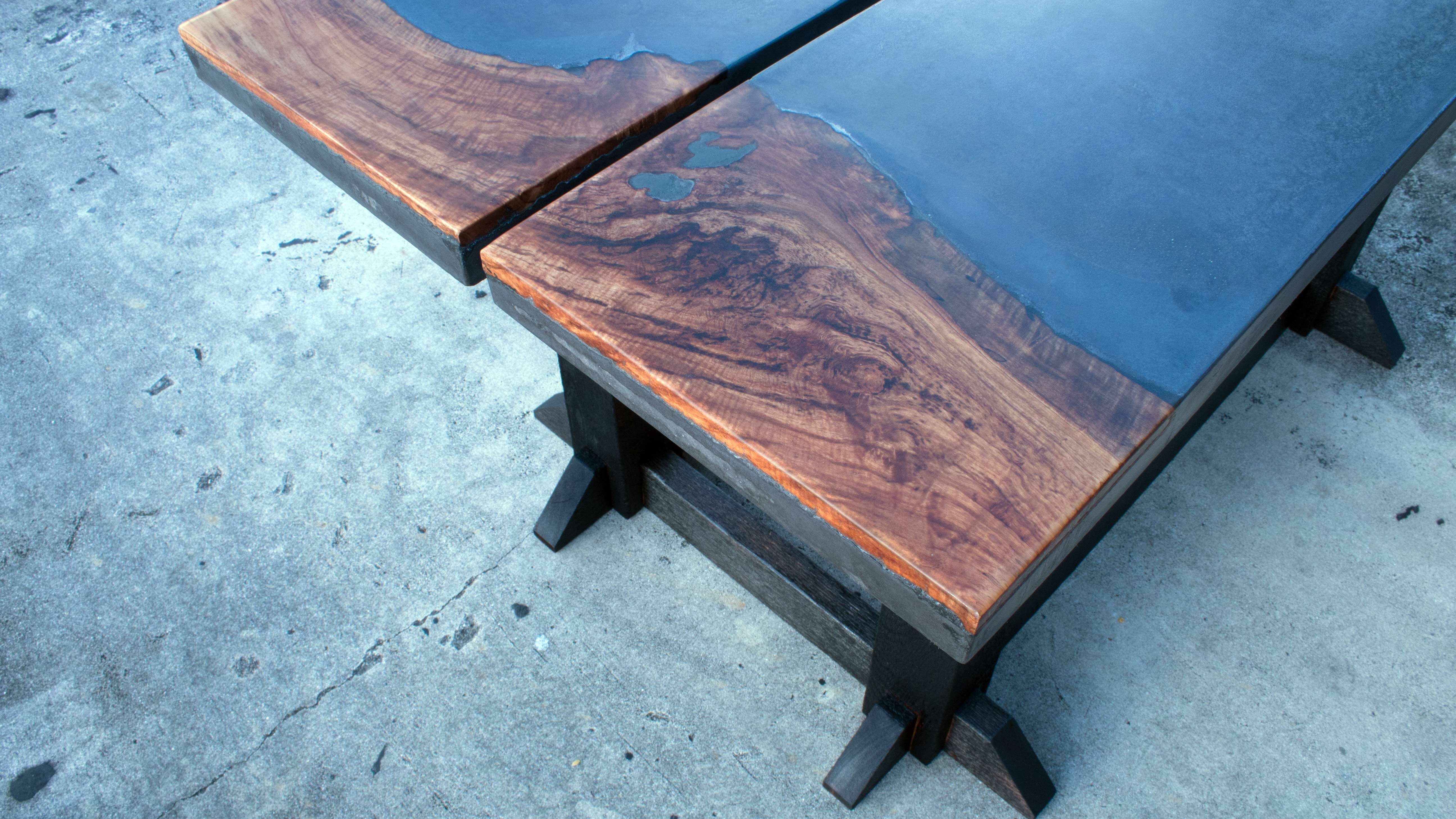 Concrete And Live Edge Outdoor Dining Table Lazy Guy Diy