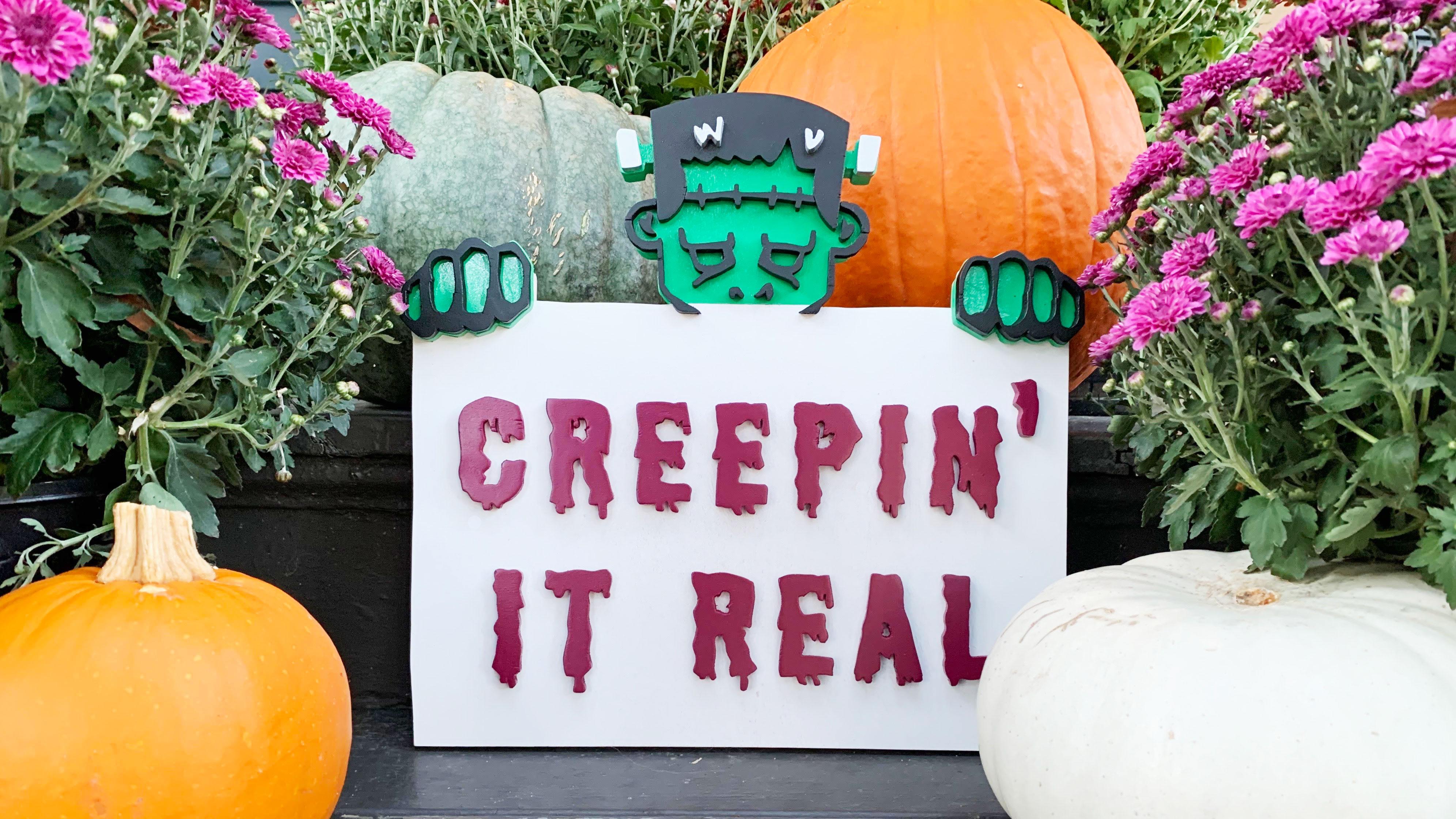 DIY Spooky Halloween Scroll Saw Sign