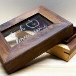 Handmade Engraved Glass Walnut Trinket Box