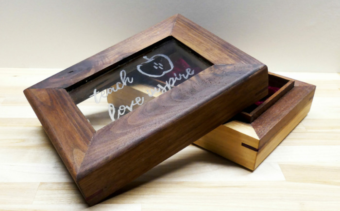 Engraved Walnut Trinket Box