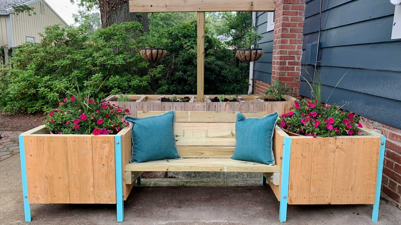 Outdoor Bench With Planters