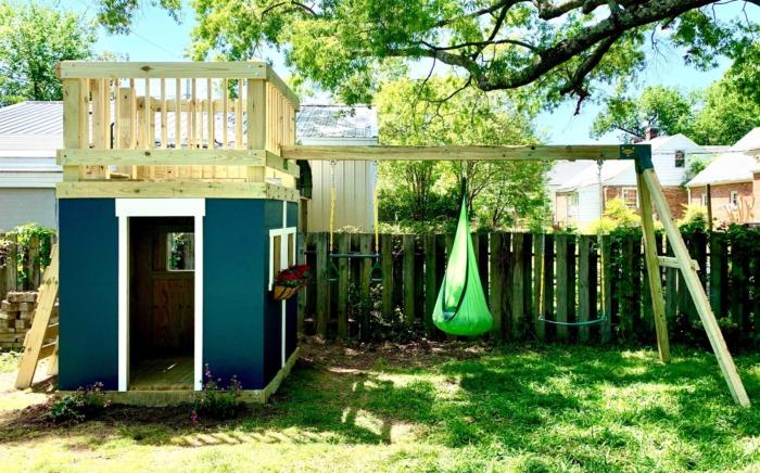 DIY Playhouse and Swing Set