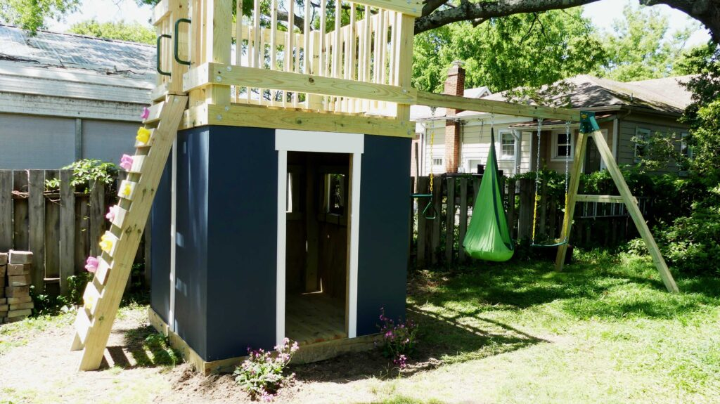 DIY Playhouse and Swing Set Climbing Wall
