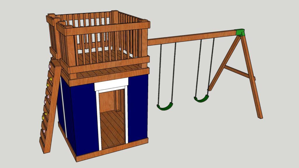 DIY Playhouse with Swingset