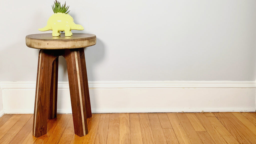Rustic and Modern Walnut and Maple Side Table